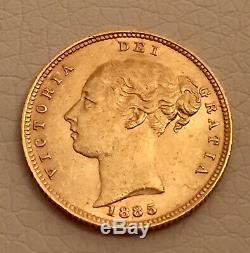 1/2 Gold Sovereign Half 1885 Queen Victoria Great Britain London Münze Coin Rare