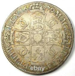 1679 Great Britain England Charles II Crown Coin VF / XF Details (EF) Rare