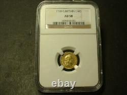 1718 Great Britain Quarter Guinea Gold Coin Ngc A/u-58 Rare Gold