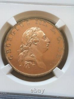 1788 Great Britain George III 1/2 Penny Gilt Pattern NGC Proof 62 Cameo Rare