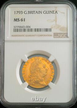 1793, Great Britain, George III. Rare Gold Guinea Coin. Better Date! NGC MS-61