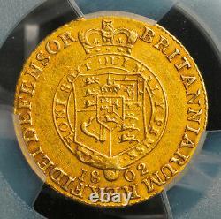 1802, Great Britain, George III. Rare Gold 1/2 Guinea Coin. (4.19gm) PCGS AU-53