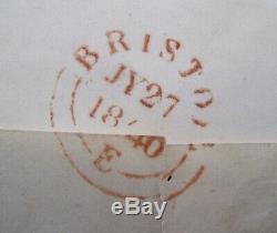 1840 1d PENNY BLACK RARE VERMILION BRISTOL MALTESE CROSS MX ON GB COVER CV £3000