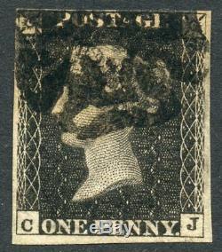 1840 1d grey-black RARE plate 11 L/T C. J. Black MC. S. G. 3
