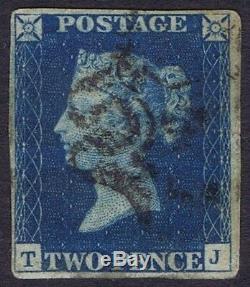 1840 2d Blue Plate 2 TJ 4m RARE London No 4 in Cross Cat. £18000.00