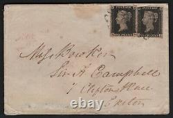 1840 QV two SG2 1d Penny Blacks Plate 6 on Cover to Exeter CV £1150++ very rare