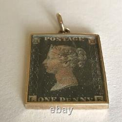 1840 Rare Penny Black Stamp 9ct gold cased Collector Stamp Book Pendant Charm