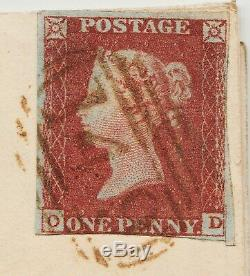 1845 Penny Red (on Wrapper) SpecBS28xf Plate 86 (OD) with RARE BROWN Postmark