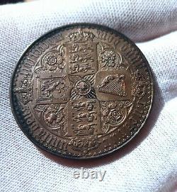 1847 Great Britain Queen Victoria. Rare Proof Silver Gothic Crown UNC 28.7 Grams