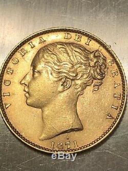 1871 Gold Sovereign Coin, Great Britain, Victoria, Sovereign, Rare High Grade