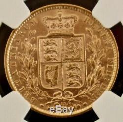 1873 Gold Shield Sovereign NGC AU53 Sov Great Britain RARE Die #15 S-3853B