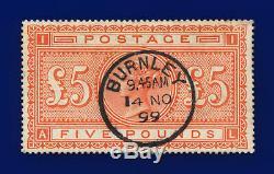 1882 SG137 £5 Orange J128a AL Rare Burnley CDS 14 NO 99 Fine Used Cat £4750 cszh