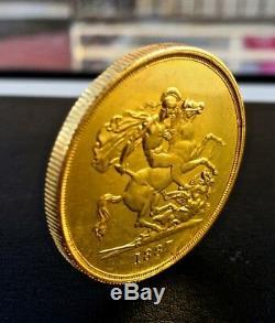 1887 Great Britain Gold 5 Pound 40 gram Gold Coin Queen Victoria RARE
