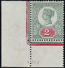 1887 JUBILEE SG200 2d GREY GREEN & CARMINE VERY RARE 2nd SETTING CORNER MARGINAL