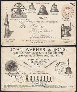 1890 1d Pink PS Advertising Envelope Warners BIG BEN and CHURCH BELLS Rare