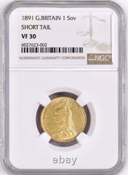 1891 Gold Sovereign Rare Short tail version, Queen Victoria Jubilee NGC VF30