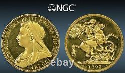 1893 Great Britain 2 Pounds Gold Victoria-ngc Genuine-cameo Proof-pretty-rare