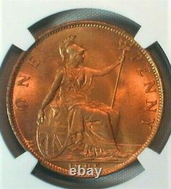1895 Great Britain One Penny NGC MS 66 RD RARE in this Grade! (352)