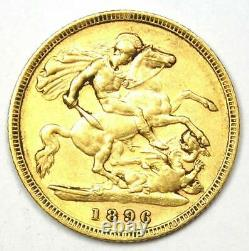 1896 Great Britain England Victoria Gold Half Sovereign UK Coin 1/2S Rare