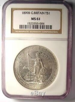 1899-B Great Britain Trade Dollar T$1 Certified NGC MS61 (BU UNC) Rare Coin