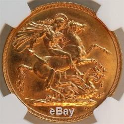 1902 Gold 2 Pounds Great Britain, Rare, Ngc Ms-62
