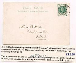 1902 postcard SPINNING with ST KILDA c. D. S. On Queen Victoria ½d VERY RARE