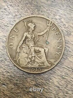 1919 H Great Britain- George V One Penny Bronze Coin- Km# 810 Rare