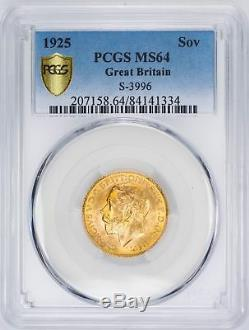 1925 Sovereign S-3996 Great Britain Gold PCGS MS64 Secure Plus Rare Coin