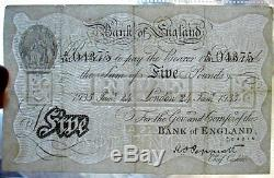 1935 England Great Britain RARE Banknote 5 pounds VF signed
