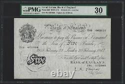 1955 GREAT BRITAIN, BANK OF ENGLAND 5 Pounds B275 O'Brien, PMG 30 VF, Rare