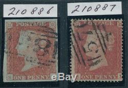 1d rare plate 177 lettered SL matched pair. 1d red, 4 fine margins, light