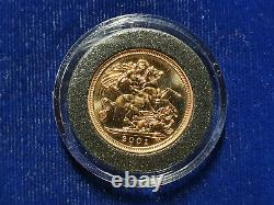 2001 Gold Great Britain Proof 3.99 Grams 1/2-sovereign Coin Rare