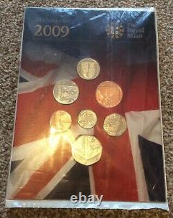 2009 Royal Mint UK Shield Coin Set With RARE Never Released 50p BUNC Sealed Pack