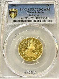 2014 Great Britain Gold Britannia Proof 1/4oz £25 PCGS PR70DC RARE