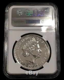 2015 Britannia MS70 Plain Fields NGC Great Britain UK 1 oz rare Silver coin £2