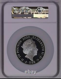 2020 Great Britain Silver 10 Pounds James Bond 007 5 oz PF70 UC NGC Coin RARE