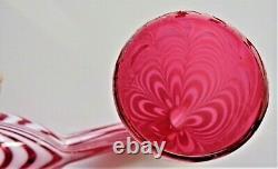 Antique Georgian Rare 15 Nailsea Glass Whimsy Pipe Museum Qual Cranberry/white