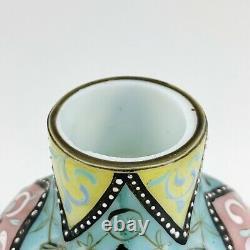 Antique Thomas Webb Moroccan Pattern Hand Enameled Opaline Cased Glass Vase RARE