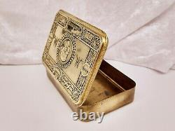 Antique WW1 Princess Mary Gift Fund Xmas 1914 Brass Tin-Rare 19 Leaves Variation