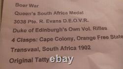 Boar War queens south africa medal, duke of edinburghs own vol rifles RARE