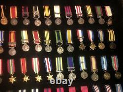 British Miniature Campaign And Galantry Medals Rare Set Framed No Glass Victoria