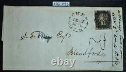 Certified Penny Black on cover rare plate 11 greyish black SGAS72 see details