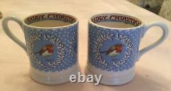 EMMA BRIDGEWATER Christmas Wreath Robin 2 Mugs 2 Plates RARE England Mince Pies