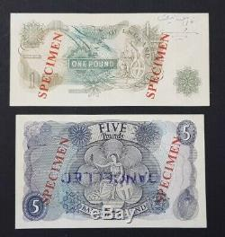 England, Great Britain SPECIMEN £1 & £5, (1966-70) Sign J. S. Fforde A. UNC/RARE