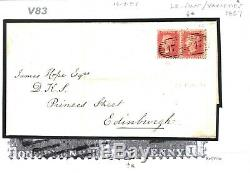 GB Cover 1857 RARE BROKEN PERF-PIN VARIETY 1d Rose C9 Plate 44 PAIRsamwellsV83
