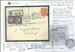 GB Cover VERY RARE COIN REGISTERED Edinburgh Scots Datestamp 1922 Late R105a