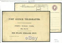 GB GPO Telegraphs BOOKLET COVER 1896 Original QV 6d Form TP16ad RARE Ap269