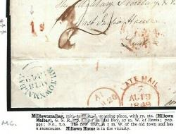 GB IRELAND Cover Milltownmalbay DISTINCTIVE UPP HANDSTRUCK 1d 1849 RARE L25c