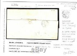 GB LATE MAIL London POSTED SINCE LAST NIGHTPSLN7.301d Red Cover RARE 1859 L39b