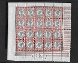 GB NH Pane of 20 QV 1892 4½d Green & Carmine SG206 ULTRA RARE Unmounted Mint MNH